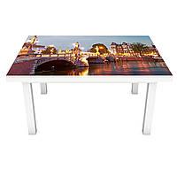 Наклейка на стол Огни Будапешта 3Д виниловая пленка ПВХ ночной Город Оранжевый 600*1200 мм