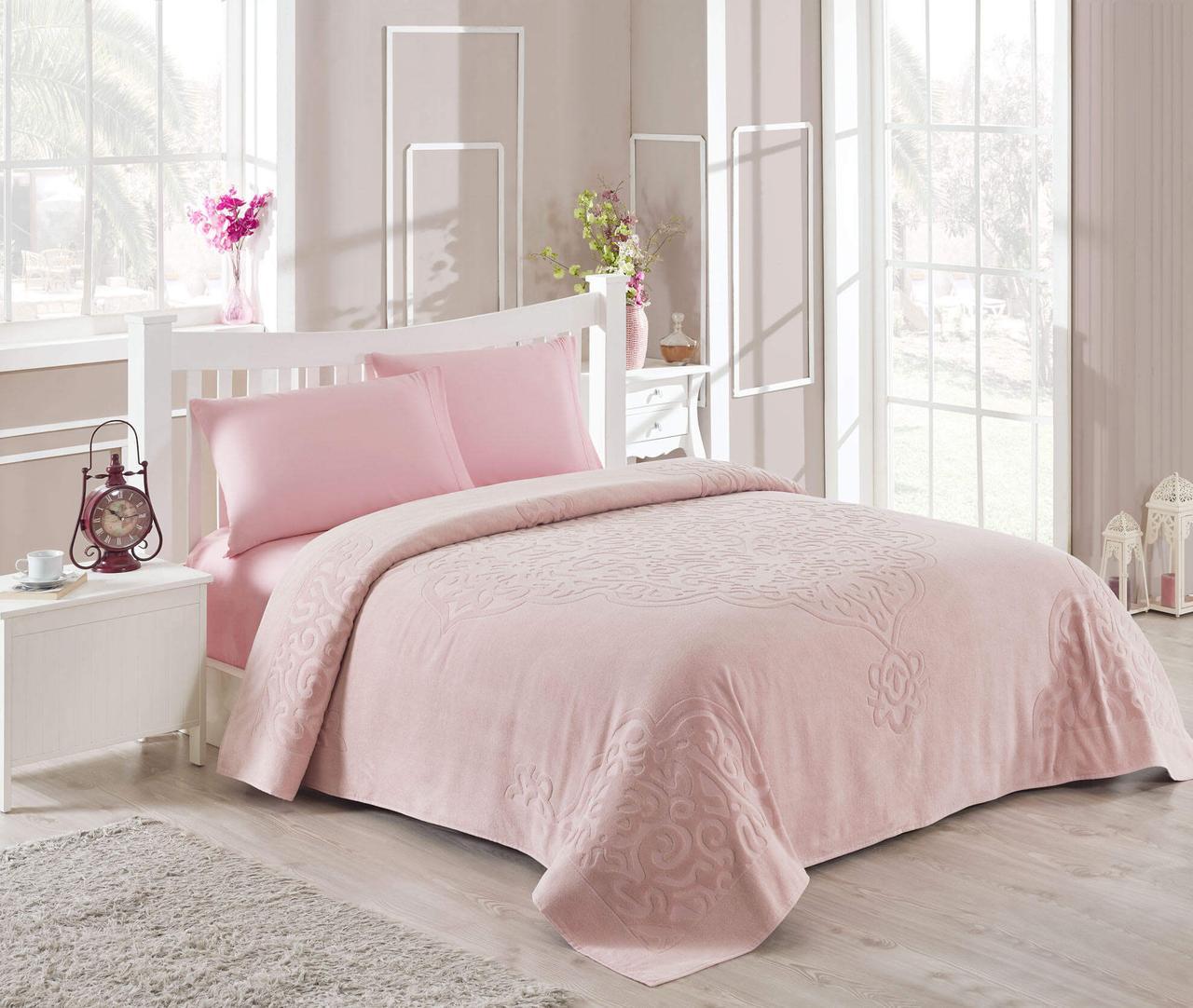 Махровое покрывало/простынь TAC Dama Pink 200×220 см