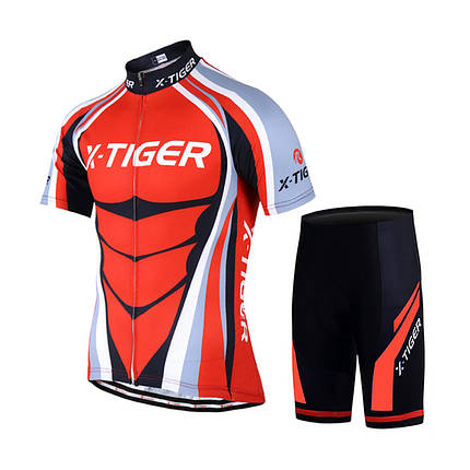 Велокостюм X-Тiger QT/T1616 Red XXL футболка короткий рукав + шорты, фото 2