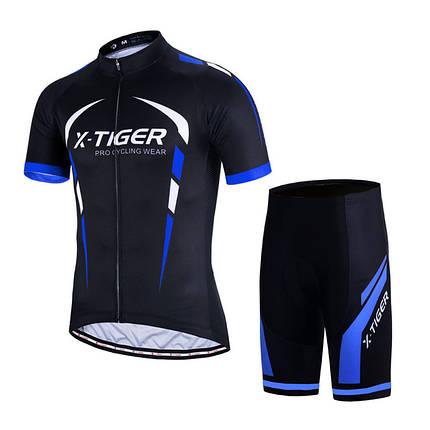 Костюм вело X-Тiger XM-DY-02202 Shorts Blue M футболка короткий рукав шорты, фото 2