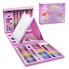 Набор для рисования Чемодан творчества 208 предметов розовый