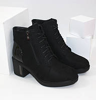 Ботинки на устойчивом каблуке F61-2 черный