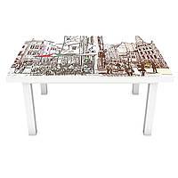 Наклейка на стол Италия Город 3Д виниловая пленка ПВХ рисунок карандаш Бежевый 600*1200 мм