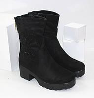 Ботинки замшевые на устойчивом каблуке H702 черный