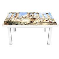 Наклейка на стіл Тигри і Скульптура 3Д вінілова плівка ПВХ колони Тварини Бежевий 600*1200 мм