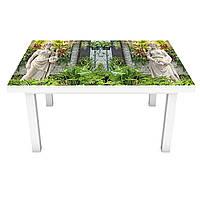 Наклейка на стол Скульптуры в саду (3Д виниловая пленка ПВХ) Природа Зеленый 600*1200 мм