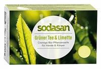 Органическое антибактериальное мыло для лица и тела Зеленый чай-Лайм, 100 г
