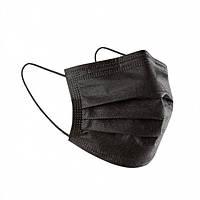Медицинская черная маска 10 шт для лица с фиксатором для носа