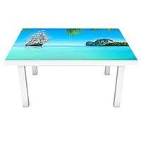 Наклейка на стол Тропическое побережье 3Д виниловая пленка ПВХ остров корабль Море Голубой 600*1200 мм