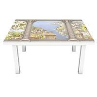 Наклейка на стол Вид на античный город 3Д виниловая пленка ПВХ колонны Архитектура Бежевый 600*1200 мм