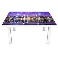 Наклейка на стол Акварельный город 3Д виниловая пленка ПВХ ночные огни Фиолетовый 600*1200 мм
