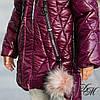 """Зимняя удлиненная куртка для девочки """"Милити"""" вишня, фото 4"""
