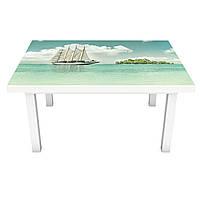 Наклейка на стол Тропические острова 3Д виниловая пленка ПВХ корабль пальмы Море Зеленый 600*1200 мм