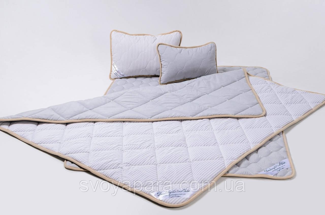 Комплект із вовни мериносів сірий у смужку двохспальний (Ковдра 180х200 + Подушки 40х60 2шт.)