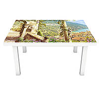 Наклейка на стол Вид на морской залив 3Д виниловая пленка ПВХ колонны город Море Голубой 600*1200 мм