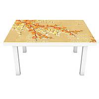 Наклейка на стіл Квітучі гілки 3Д вінілова плівка ПВХ Абстракція Помаранчевий 600*1200 мм