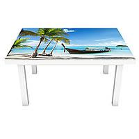 Наклейка на стол Пляж Баунти 3Д виниловая пленка ПВХ пальмы острова Море Голубой 600*1200 мм