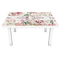 Наклейка на стіл ЦветиВінтажний орнамент 3Д вінілова плівка ПВХ візерунки Рожевий 600*1200 мм