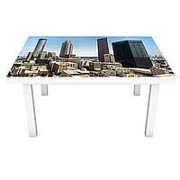 Наклейка на стол Город Небоскребы 3Д виниловая пленка ПВХ Архитектура Голубой 600*1200 мм