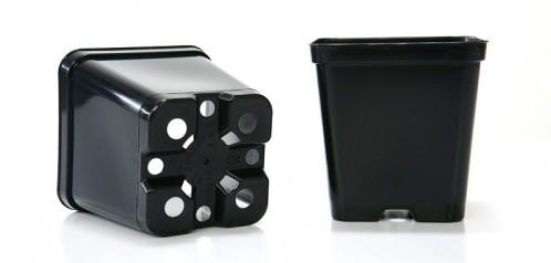 Квадратний високий горщик чорний 9*9*14 - 0.8л
