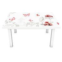 Наклейка на стіл Квітковий орнамент 3Д вінілова плівка ПВХ червоні метелики Абстракція Білий 600*1200 мм