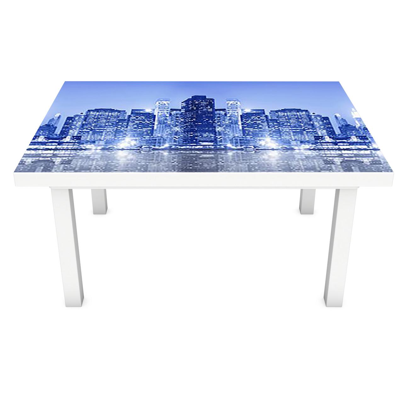 Наклейка на стол Неоновое свечение Город (3Д виниловая пленка ПВХ) ночные небоскребы Синий 600*1200 мм