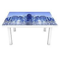 Наклейка на стол Неоновое свечение Город (3Д виниловая пленка ПВХ) ночные небоскребы Синий 600*1200 мм, фото 1