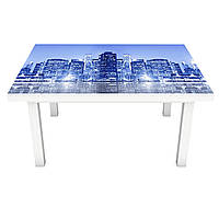 Наклейка на стол Неоновое свечение Город 3Д виниловая пленка ПВХ ночные небоскребы Синий 600*1200 мм
