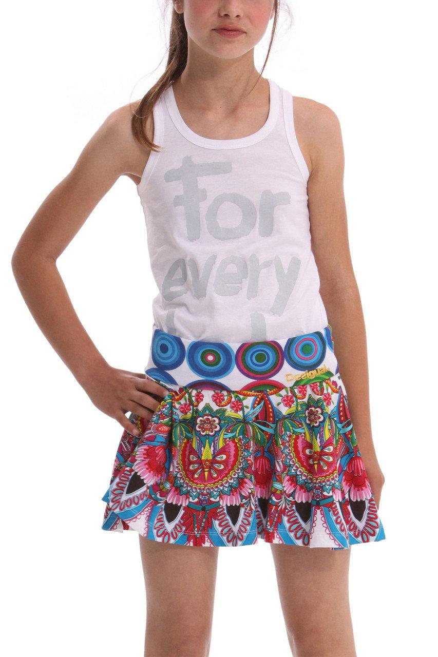Детские юбки для девочки Desigual Испания 41F3231 белый 128, белый, 810