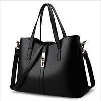 Однотонная практичная женская сумка на плече, Мягкая вместительная сумка из кожзама, Цвет церный,   FS-5937-10