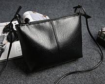 Черная маленькая сумочка на длинном ремешке из экокожи, мини сумка кроссбоди, клатч FS-6774-10