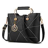 Качественная женская классическая сумка, Сумка дамская удобная Черная из Кожзама FS-7391-10