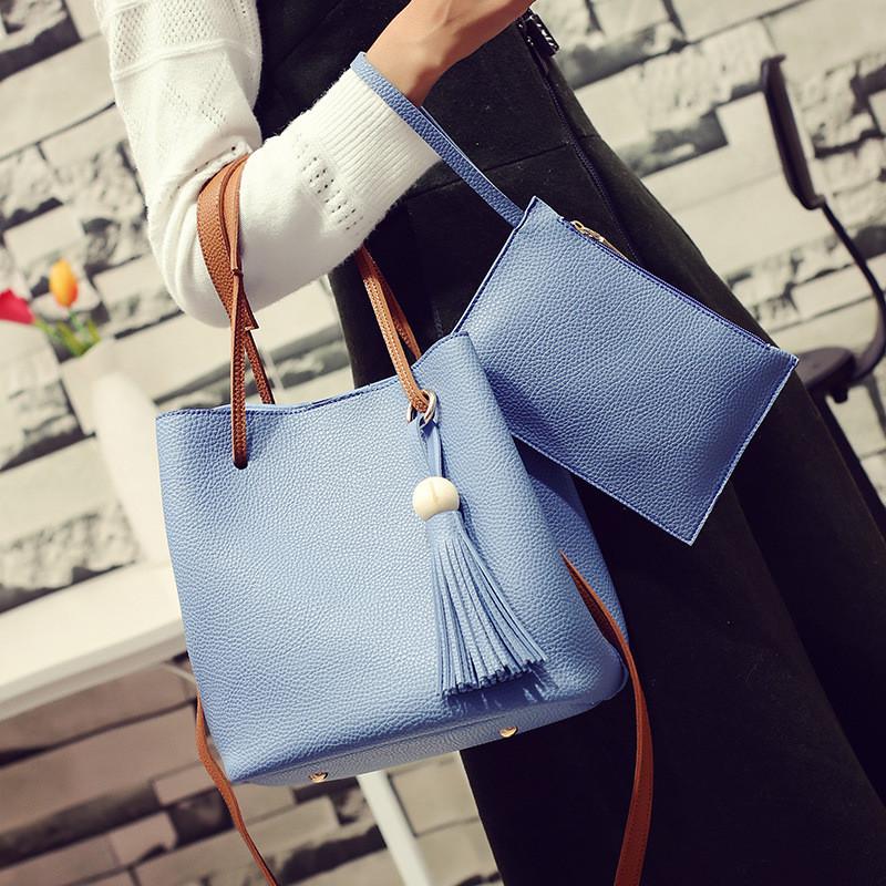 Сумка повседневная голубая и кошелек, Набор 2в1, большая женская сумка из кожзама,  FS-7334-50