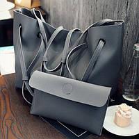Серый набор сумок 2в1, Комплект большая сумка из кожзама+клатч, Сумочка на магнитной застежке, FS-7145-77