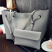 Серый набор сумок 2в1, Комплект большая сумка из кожзама+клатч, Светлая женская сумка,  FS-7145-75