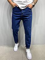Мом джинсы - Мужские джинсы бойфренд синие, свободные турецкие модные (весна, осень) , однотонные темно-синие