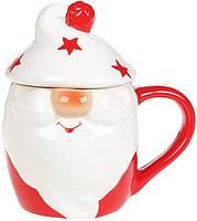 Кружка «Гномик в белой шапке» 450мл с керамической крышкой, фото 1