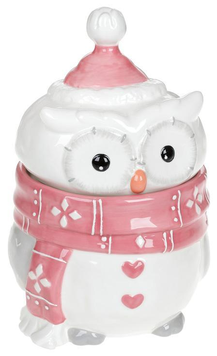 Банка керамическая «Совушкин Уют» 1100мл, розовый шарфик