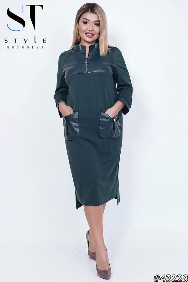 """Стильное женское платье со вставками из эко-кожи ткань """"Французский трикотаж"""" 50, 52 размер 50"""
