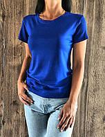 Жіноча однотонна футболка бавовна 800-синій.