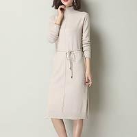 Сукня жіноча елегантне бежеве з трикотажу, тепле