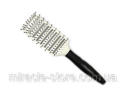 Щетка для волос прямоугольная продувная скелетная с изогнутым основанием Salon Professional 0076 расческа