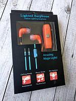 """Навушники Glow orange (мікрофон, силіконовий, круглий шнур) """"Акційна ціна"""""""