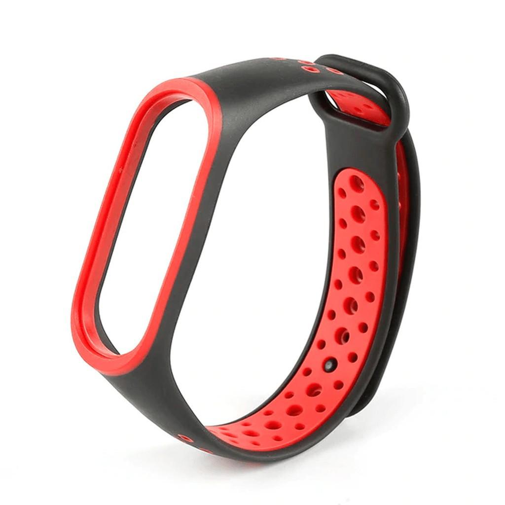 Ремешок Xiaomi Mi Band 3, Mi Band 4. Красный+черный силикон, CC1769-35