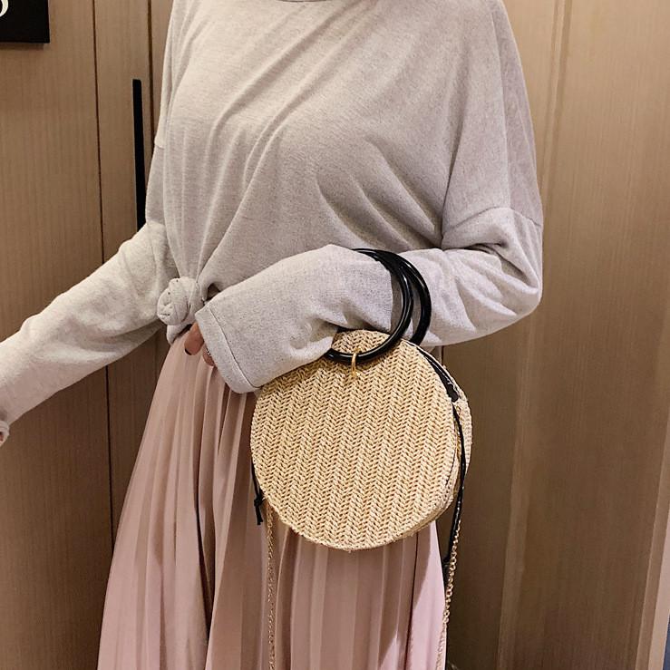 Плетенная сумка круглая из ротанга на цепочке, Женские сумки опт 2020, Плетеная сумка бежевая FS-3606-16