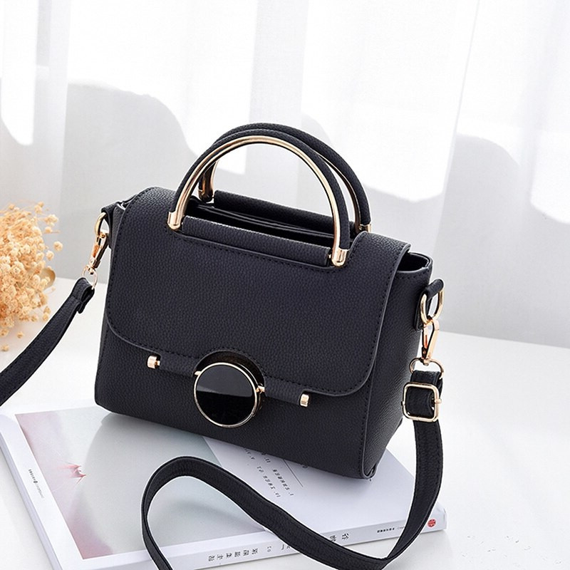 Заказ от 1000 грн, мини сумка через плечо кожзам, сумочка с круглыми ручками черная классическая, FS-4553-10