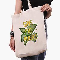 Эко сумка шоппер белая Экология (Ecology) (9227-1336-1)  экосумка шопер 41*39*8 см, фото 1