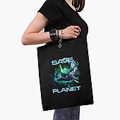 Эко сумка шоппер черная Экология (Ecology) (9227-1337-2)  экосумка шопер 41*35 см