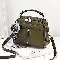 Женская сумка на молнии кросс-боди, зеленая сумка через плечо среднего размера, Сумка из кожзама, AL-4554-40