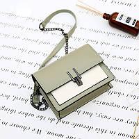Женская двухцветная мини сумка на кнопке, светлый клатч из эко-кожи на цепочке, FS-3610-42